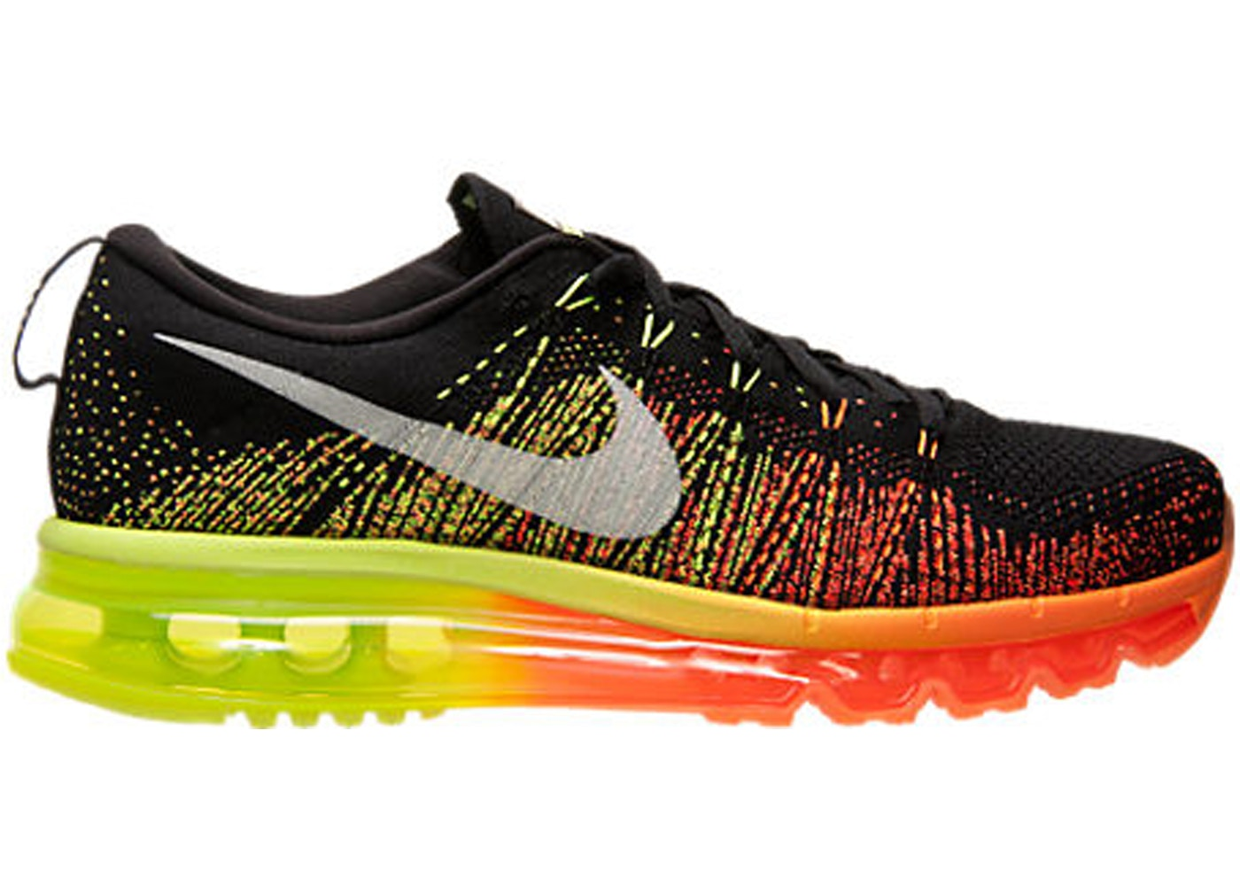 livraison gratuite 465a3 af53e Nike Flyknit Max Black Atomic Orange Volt