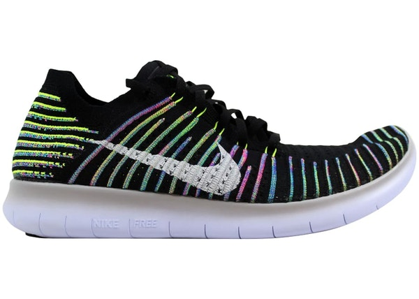 separation shoes f878c ee601 Nike Free RN Flyknit Black/White-Volt-Blue Lagoon - 831069-003