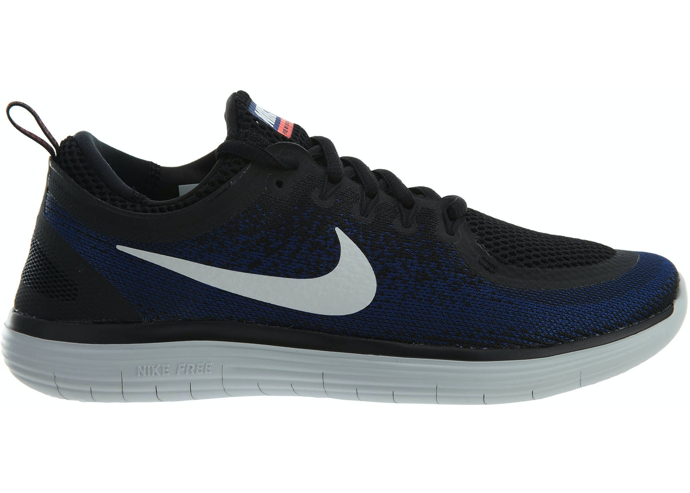 sale retailer e6883 f3ffd Nike Free Rn Distance 2 Black White-Deep Royal Blue