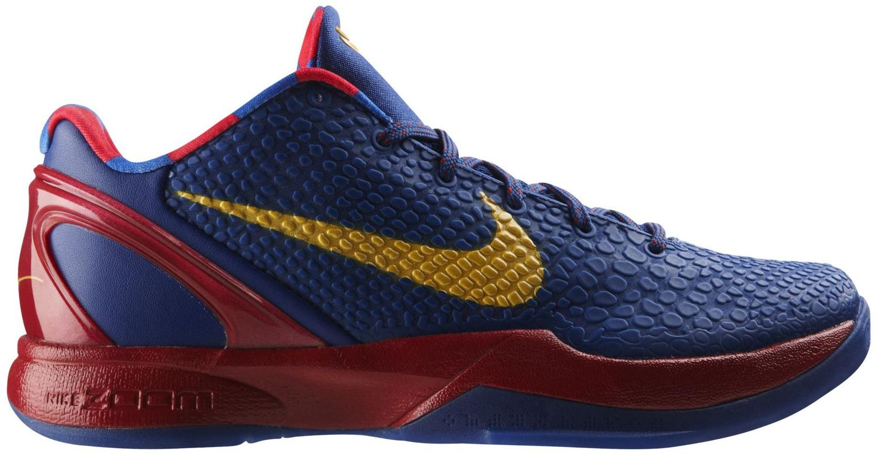 Nike Kobe 6 FC Barcelona Home Sneakers (Storm Blue/Yellow Ochre-Stream Red)