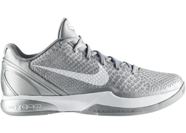 reputable site 3c80c 5afdd Nike Kobe 6 Metallic Silver Metallic Silver White - 429659-012