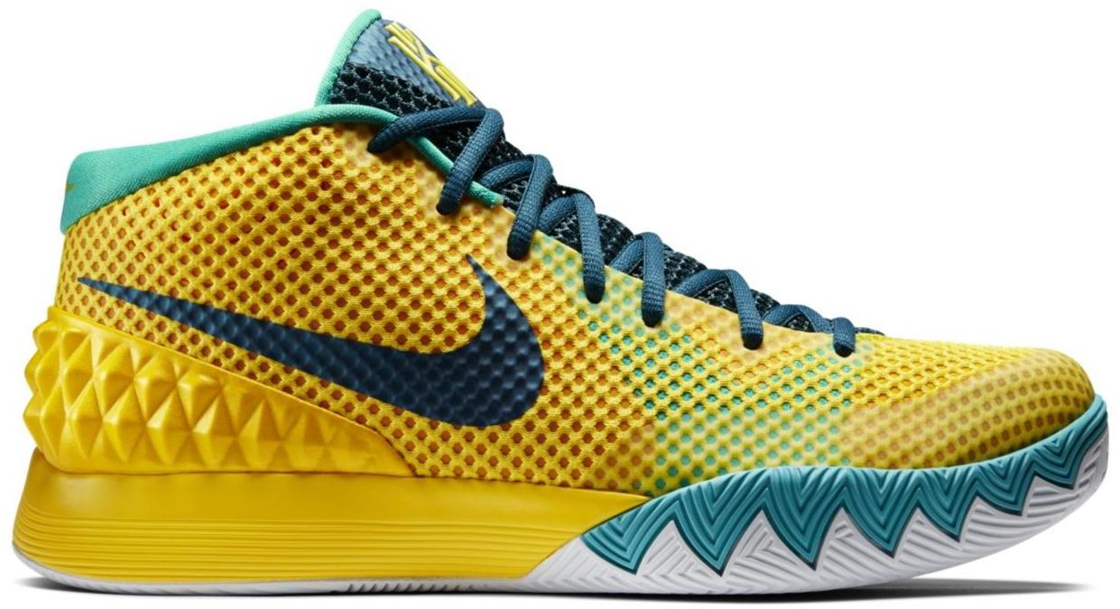 Nike Kyrie 1 Letterman 705277-737 Men's Size 8 Yellow Teal Sneakers