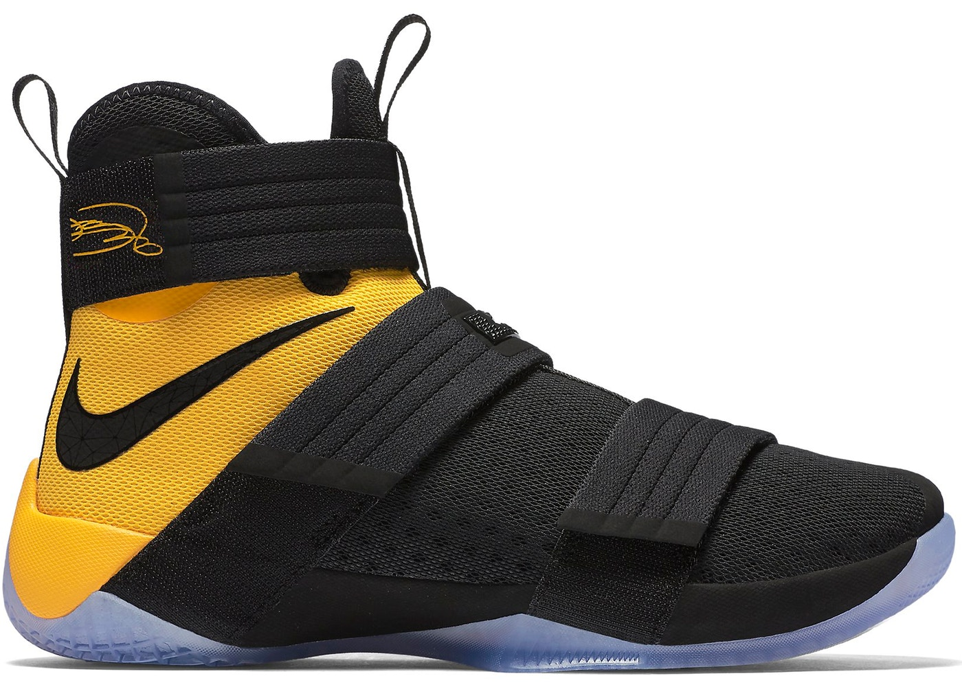 55ba0e5492bd ... LeBron Zoom Soldier 10 Black Uni Gold Nike Lebron Soldier ...