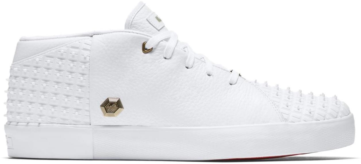 Nike LeBron 13 NSW White Rubber City Sneakers (White/University Red-Metallic Gold)