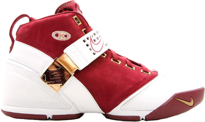 Nike LeBron 5 Christ The King Away Suede Sneakers (Deep Maroon/White-Metallic Gold)