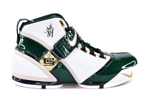 Nike LeBron 6 St. Vincent St. Mary Sneakers (White/Deep Forest-Metallic Gold)