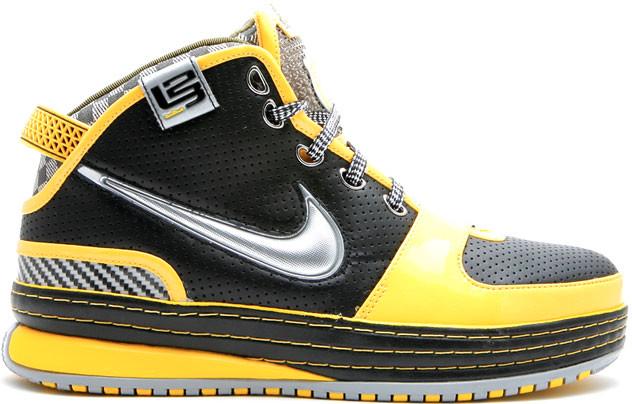 Nike LeBron 6 Taxi Sneakers (Black/Metallic Silver-Varsity Maize-White)