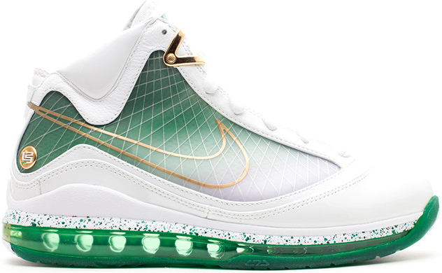 Nike LeBron 7 MTAG Washington DC Sneakers (White/White-Metallic Gold-Gorge Green)