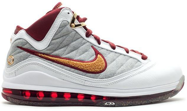 Nike LeBron 7 PS MVP (NFW) Sneakers (White/Bronze-Team Red-Wolf Grey)