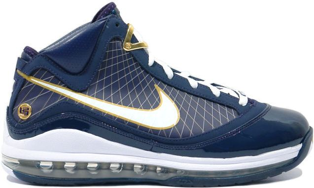 Nike LeBron 7 University of Akron Sneakers (Midnight Navy/White-Metallic Gold)