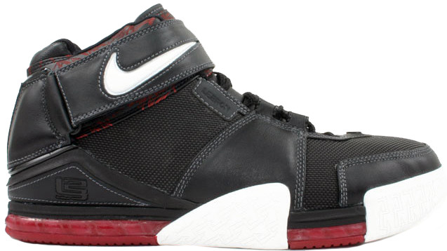 Nike LeBron Zoom 2 Black Crimson Sneakers (Black/White/Red)