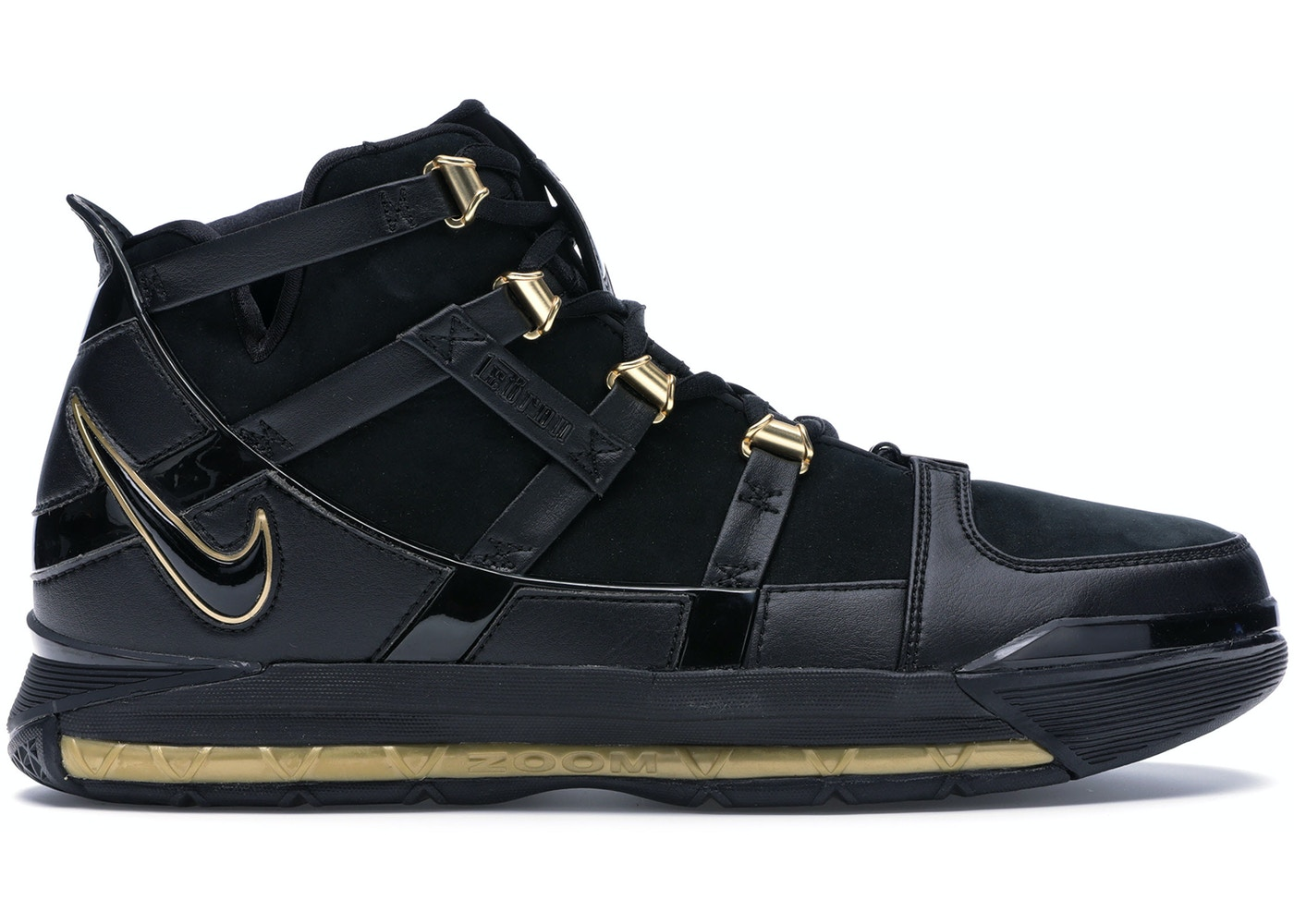 Nike LeBron Zoom 3 Black Metallic Gold - 312147-006 1d2e8d060