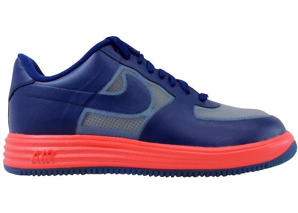 wholesale dealer 1c5b6 873d4 Nike Lunar Force 1 Fuse Lthr Royal Blue Neon Orange