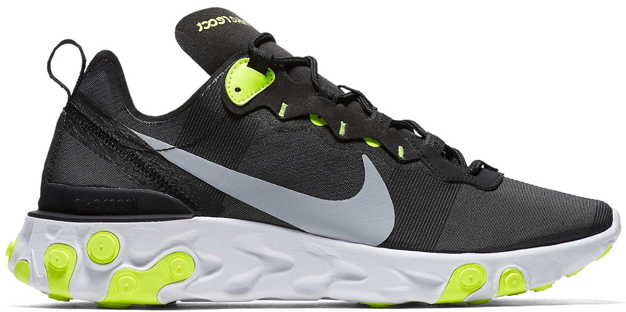 Nike React Element 55 Black Wolf Grey Volt