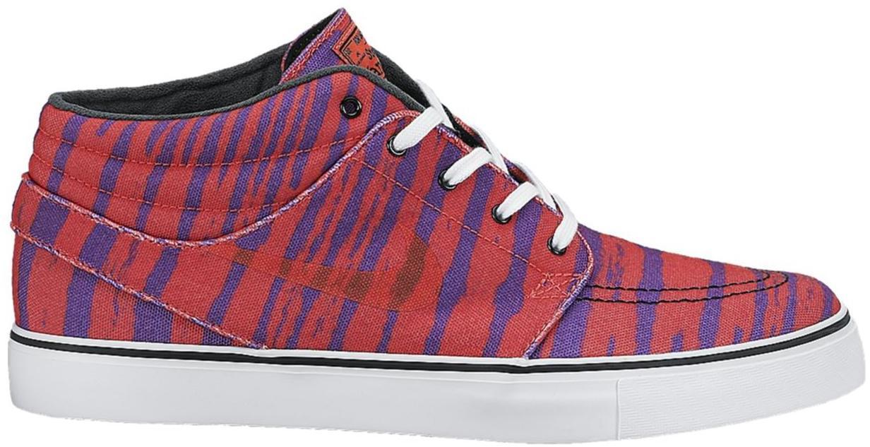 Nike SB Stefan Janoski Mid Zebra Stripe Pink Sneakers (Laser Crimson/Black-Purple Venom-White)