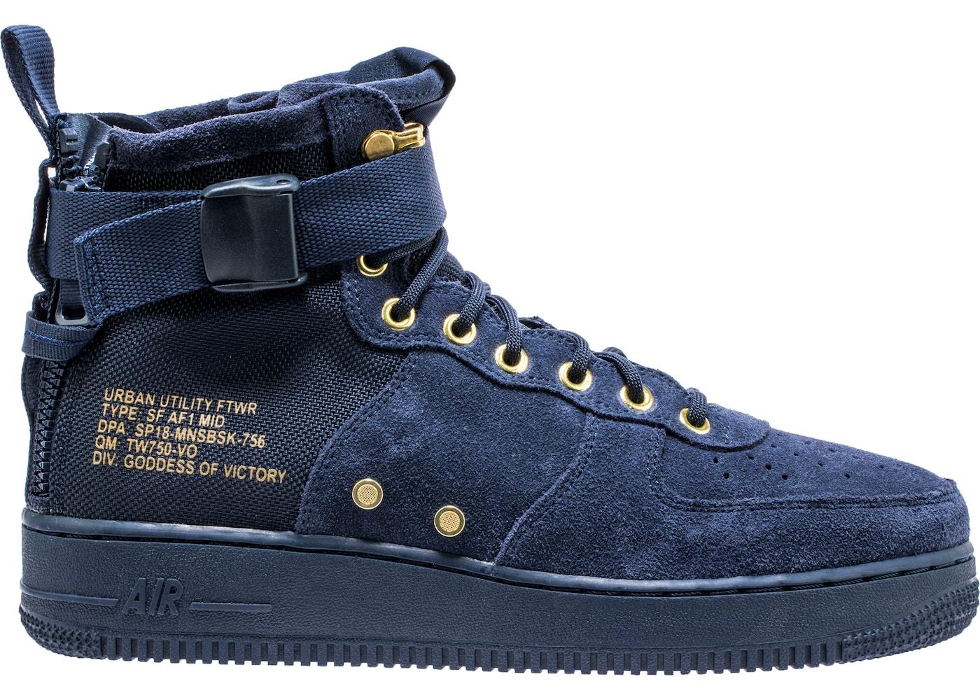 cheap for discount 1ac66 194ca Nike SF Air Force 1 Mid Obsidian Metallic Gold - 917753-400