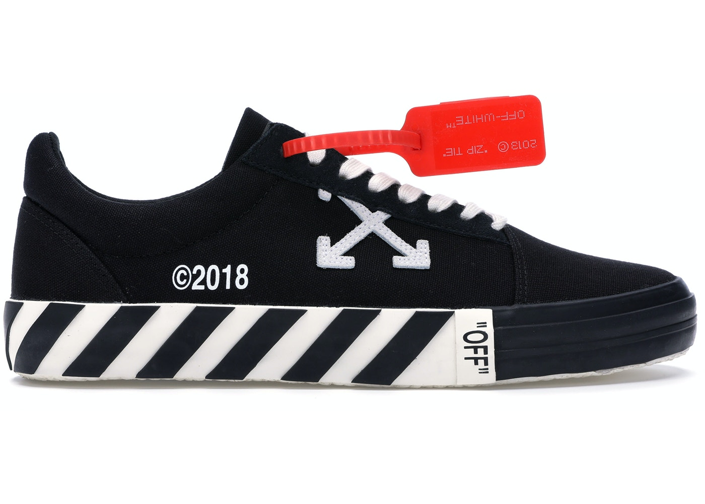 aff0fc0a9076 Off-White Vulc Low Black (Updated Stripes) - OMIA085R198000161000