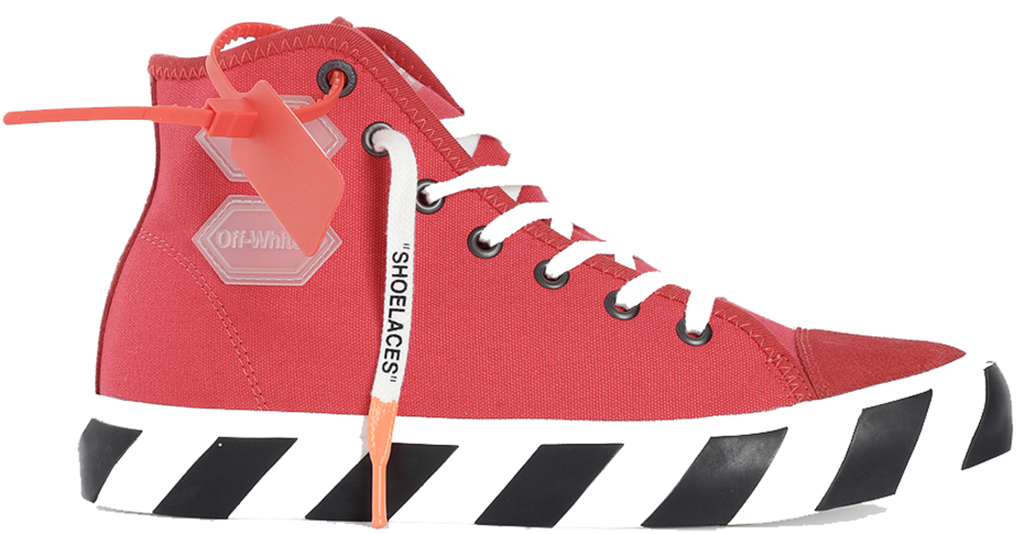 Off-White Vulcanized Hi Striped Red In Red/White-Black