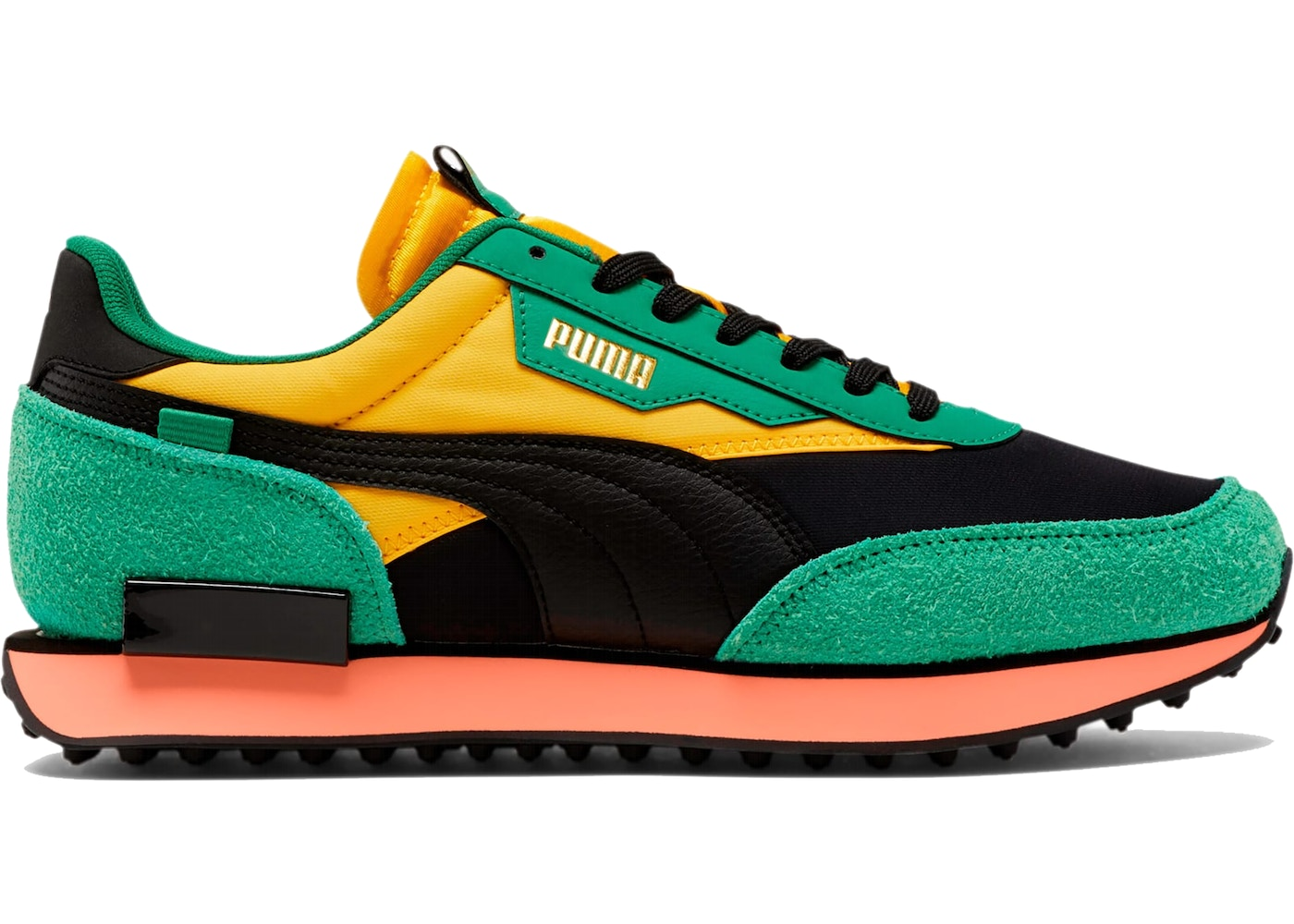 Puma Future Rider Game On Black Green Yellow