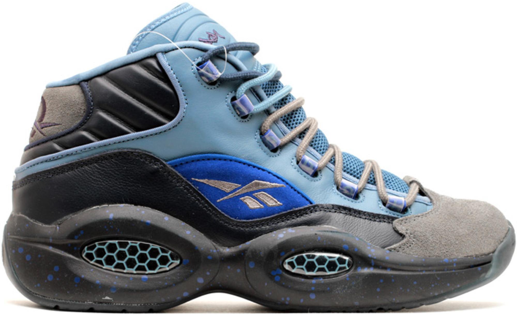 Reebok Mens Question Mid Stash//Grey-Navy-Ultramarine V61041 Shoe