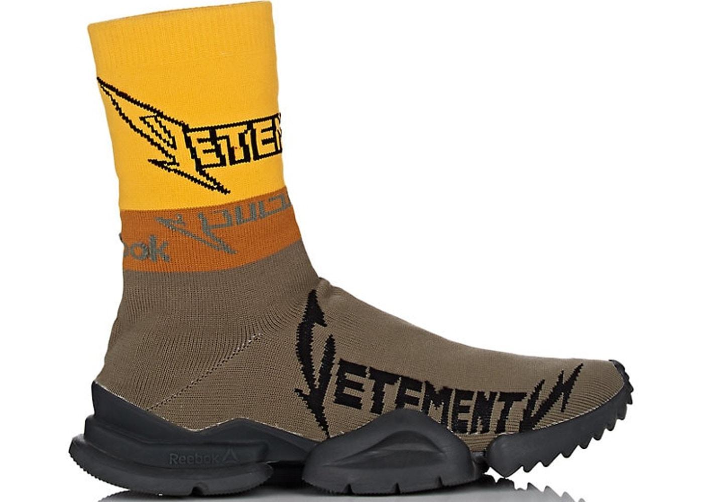 999308cd06e8 Reebok Sock Runner Vetements Olive Yellow Black - TBA
