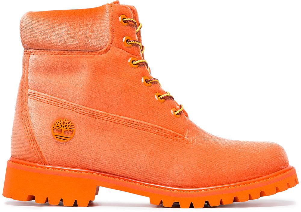 Boot Off White Orange Velvet