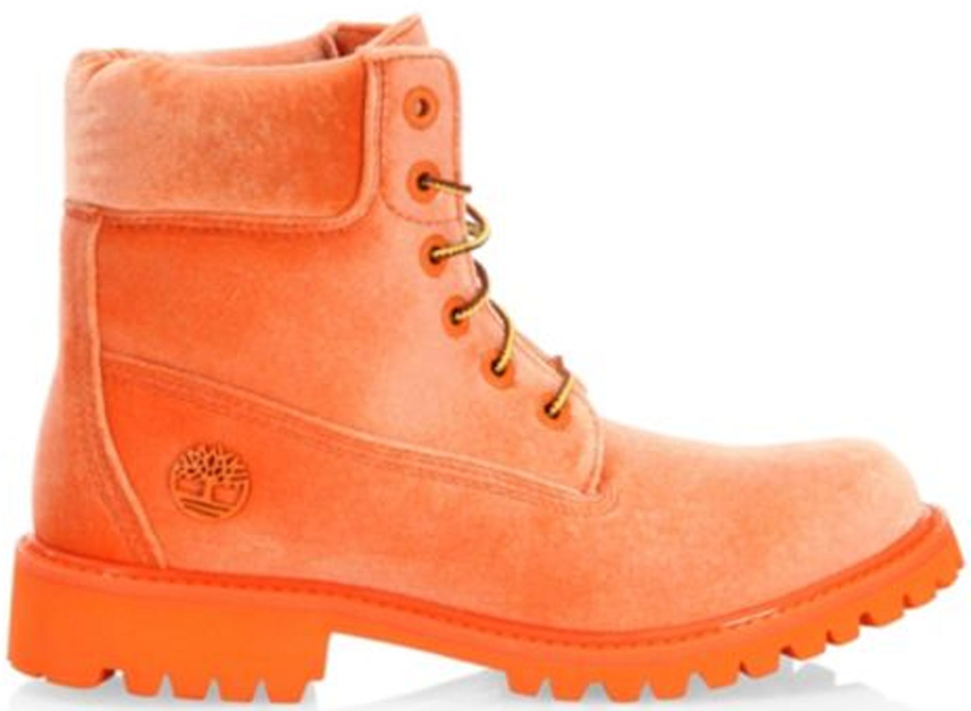 """Timberland 6"""" Boot Off White Orange Velvet"""