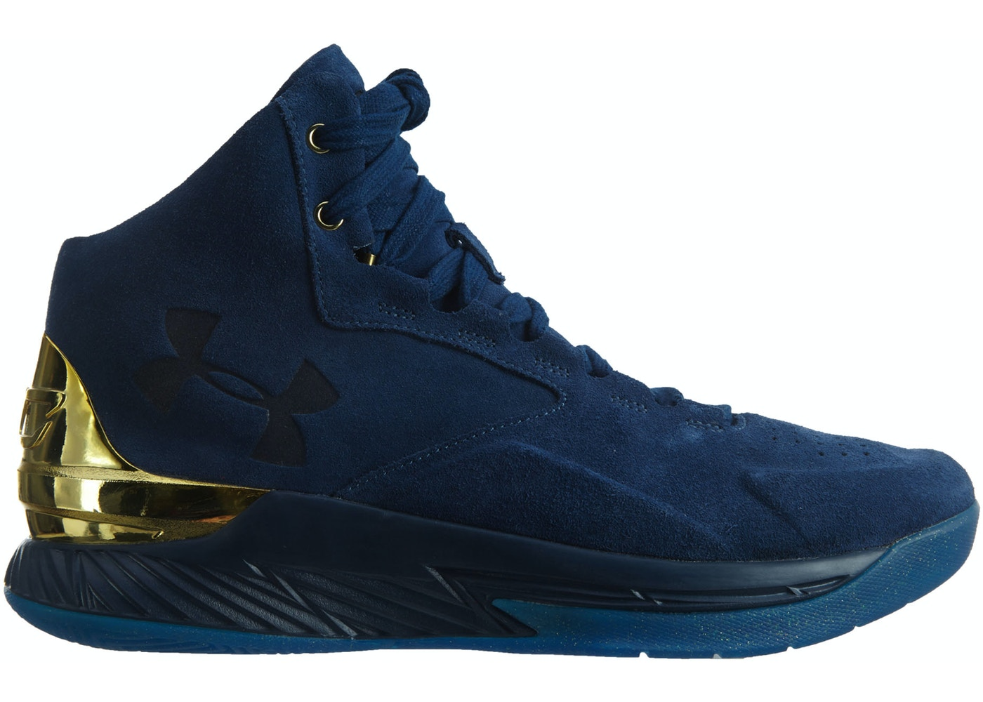 f05fd2c19ad1 Under Armour Curry 1 Lux Mid Basketball Shoe Blackout Navy Gold Blackout  Navy