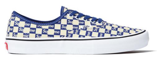 Vans Authentic Supreme Blue Checker Logo
