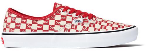 Vans Authentic Supreme Red Checker Logo
