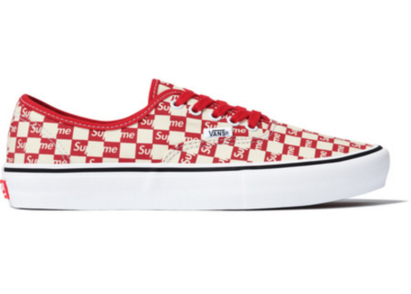 Vans Authentic Supreme Red Checker Logo