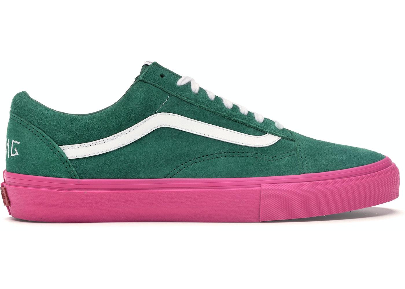 5b7d514fa718 Vans Old Skool Pro S Golf Wang Green Pink - VN0QHMF5G