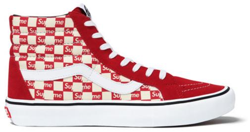 Vans Sk8-Hi Supreme Red Checker Logo