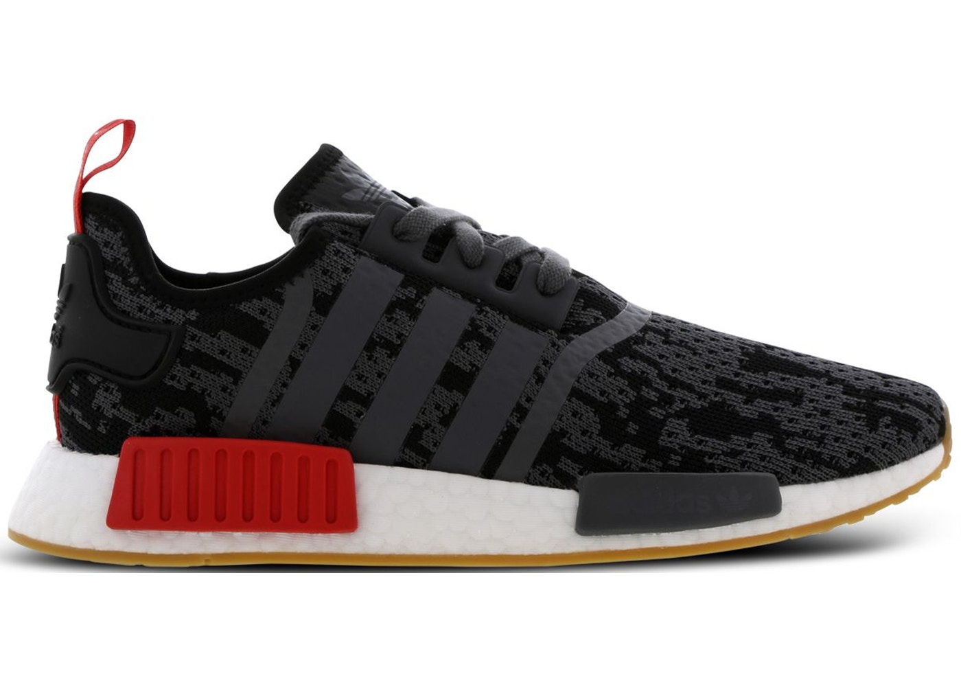 e8ae5f3efe799 adidas NMD R1 Black Grey Red Gum (Foot Locker Exclusive) - CG6666