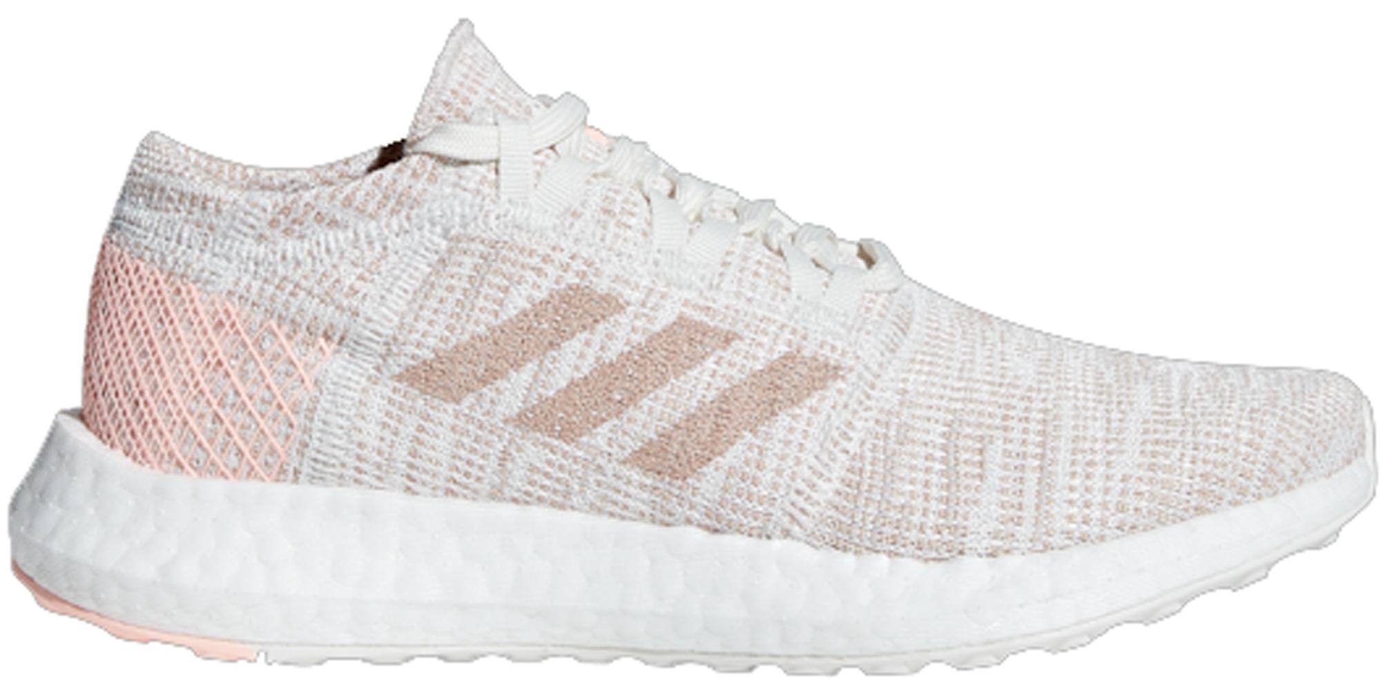 Adidas Originals Adidas Pureboost Go Running White Ash Pearl (youth) In Running White/ash Pearl/clear Orange