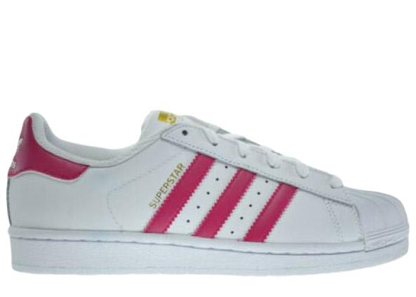 Adidas Originals Adidas Superstar Foundation J Pink Kids In White/pink
