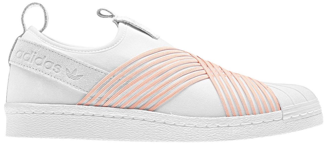 adidas Superstar Slip on White Orange