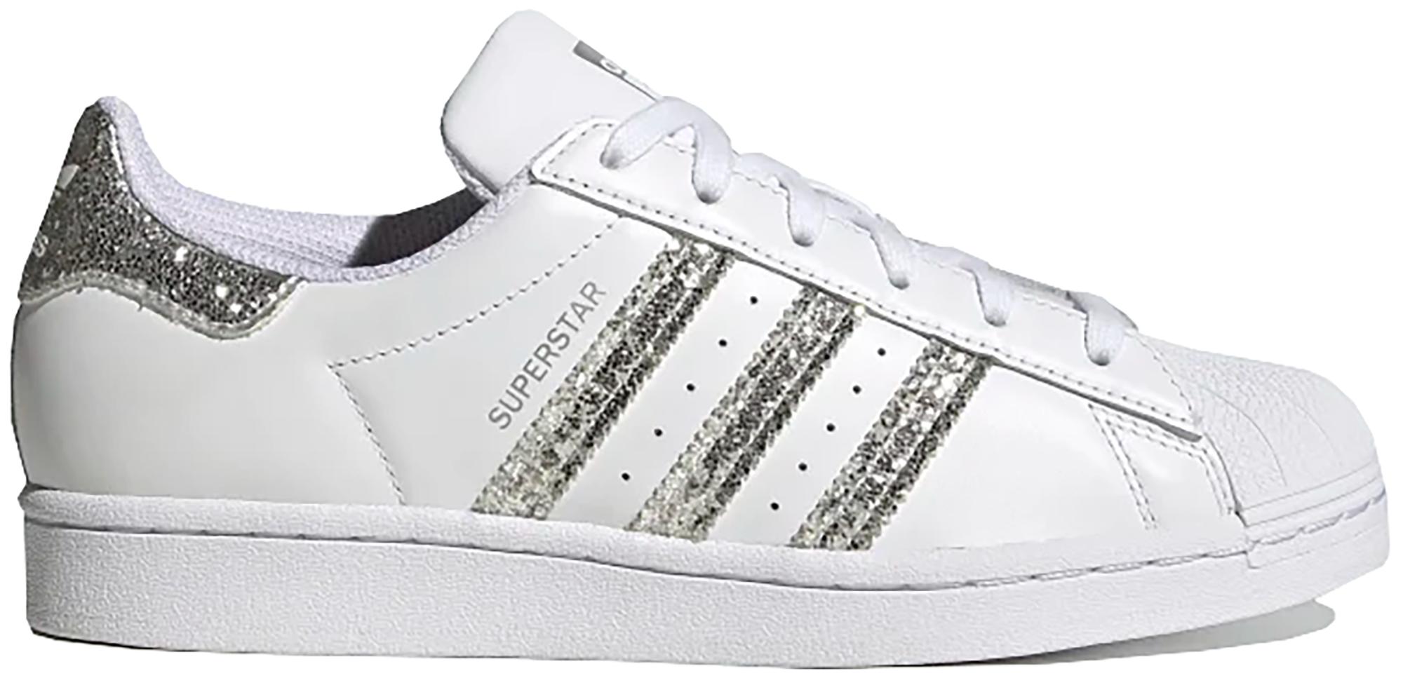 adidas Superstar White Silver Glitter