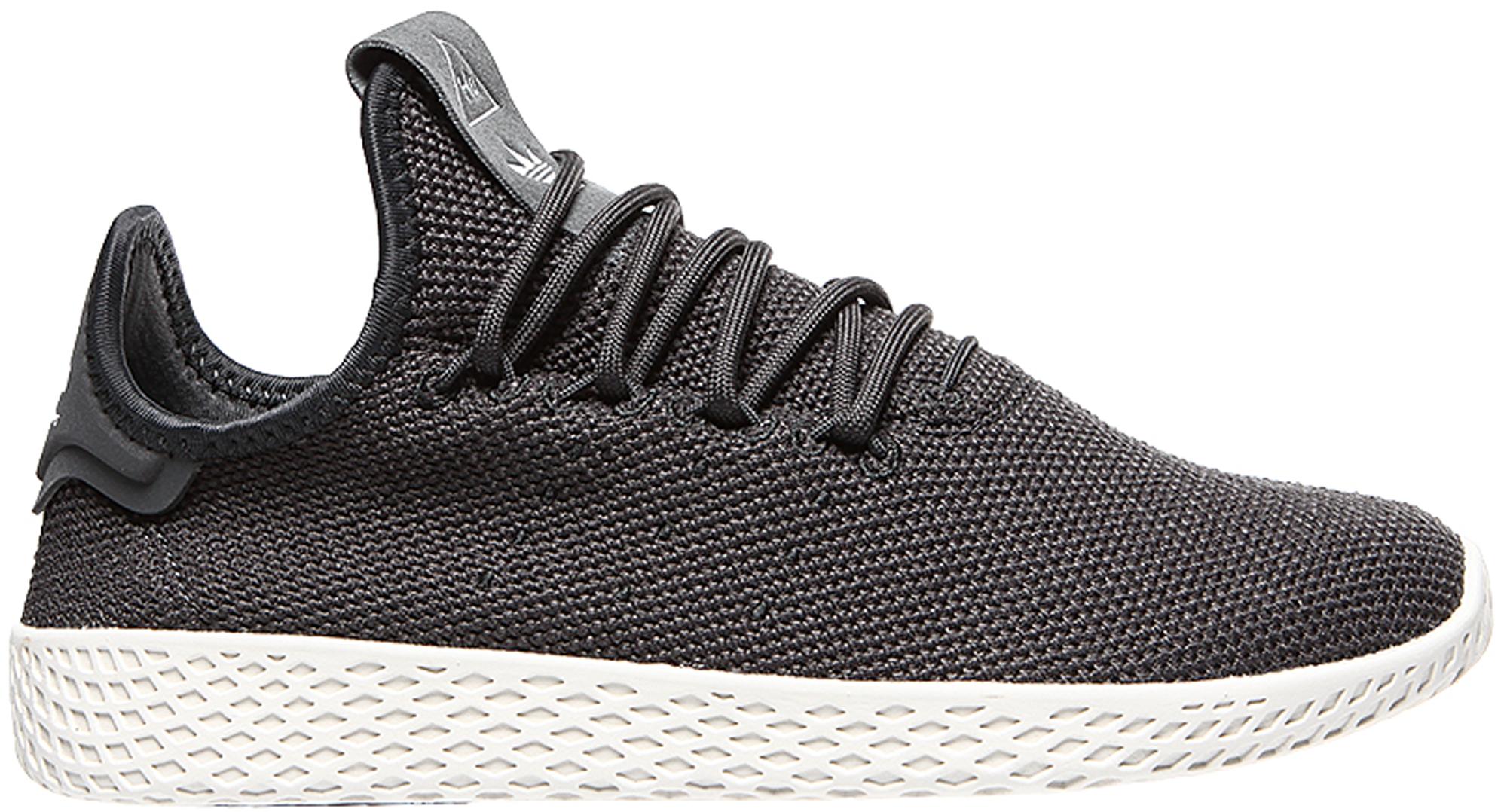 Adidas Originals Adidas Tennis Hu Pharrell Carbon (youth) In Carbon/carbon/chalk White