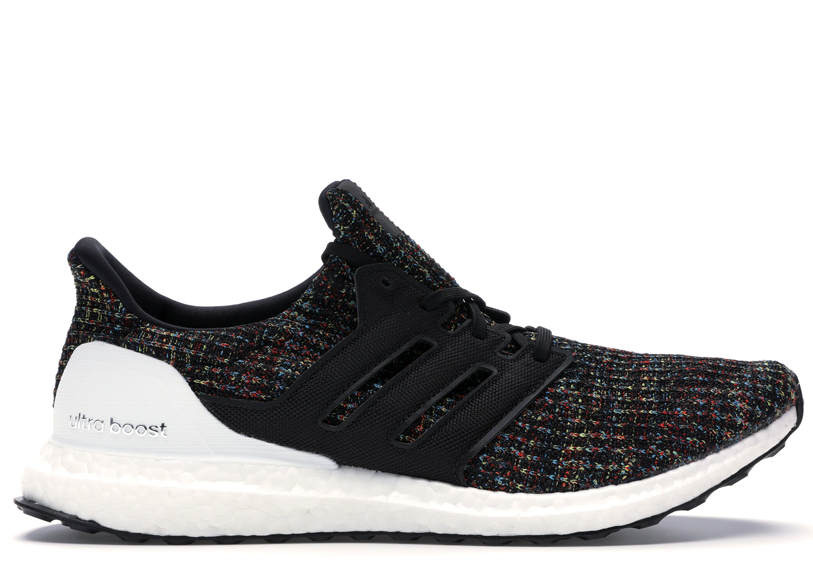 adidas Ultra Boost 4.0 Black Multi Color White Heel Cage