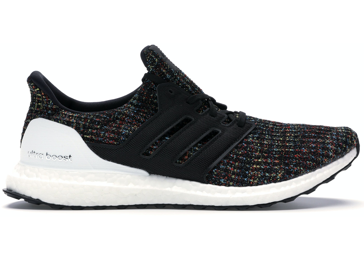 size 7 cheapest sneakers for cheap adidas Ultra Boost 4.0 Black Multi-Color White Heel Cage