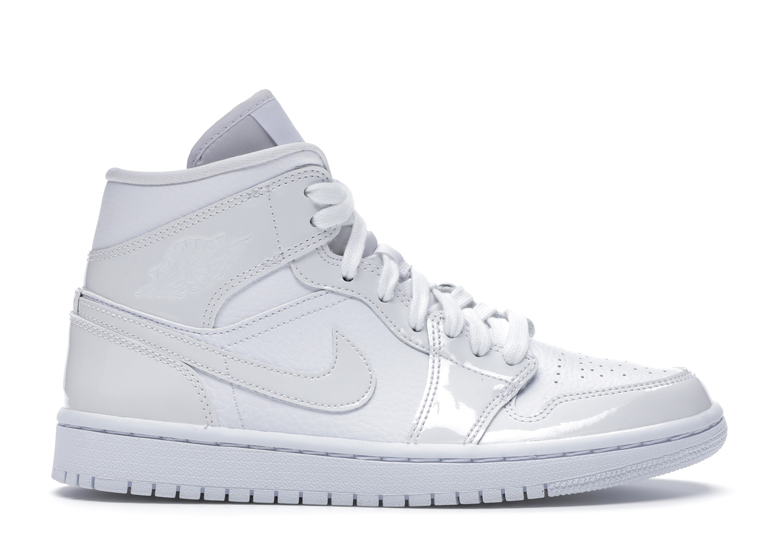 Jordan 1 Mid Triple White Patent Swoosh (W)