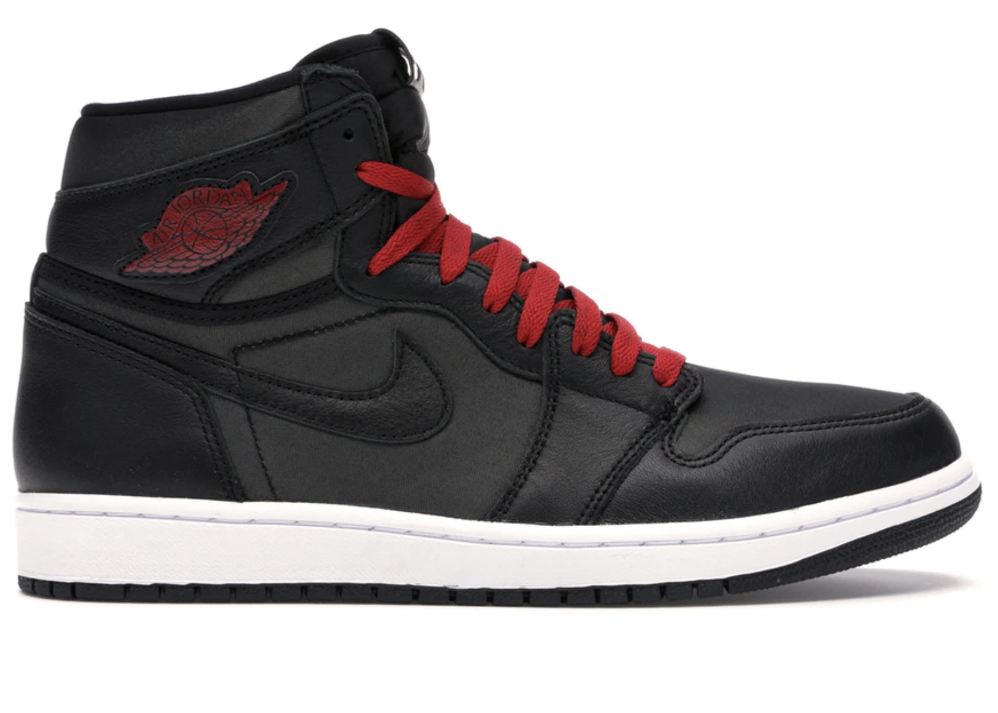Jordan 1 Retro High Black Satin Gym Red - 555088-060