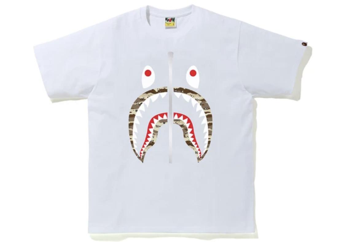 BAPE Desert Camo Shark Tee White/Beige