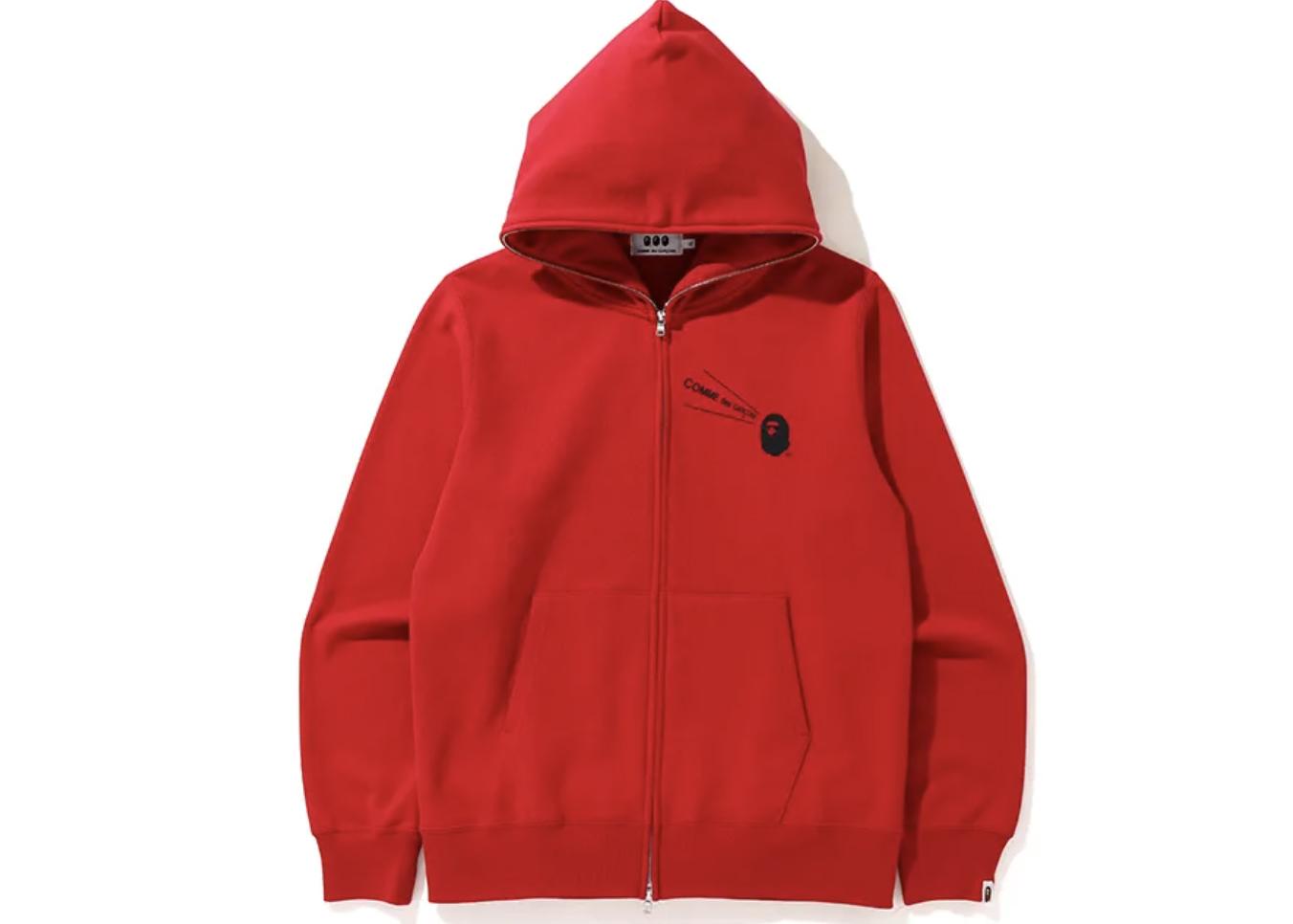 BAPE X CDG Osaka Full Zip Hoodie Red