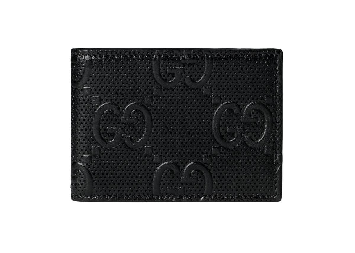 Pre-owned Gucci  Gg Embossed Bi-fold Wallet Black