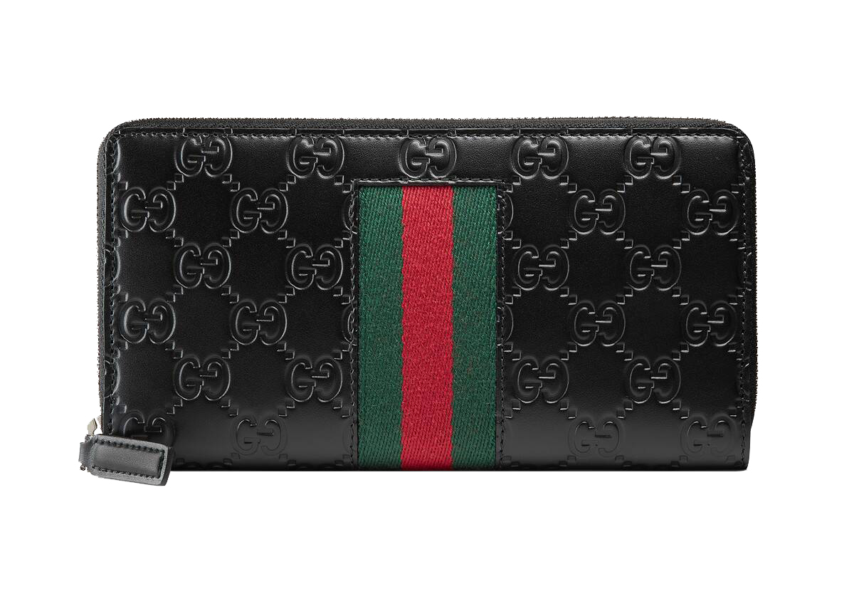 Pre-owned Gucci  Signature Web Zip Around Wallet Black