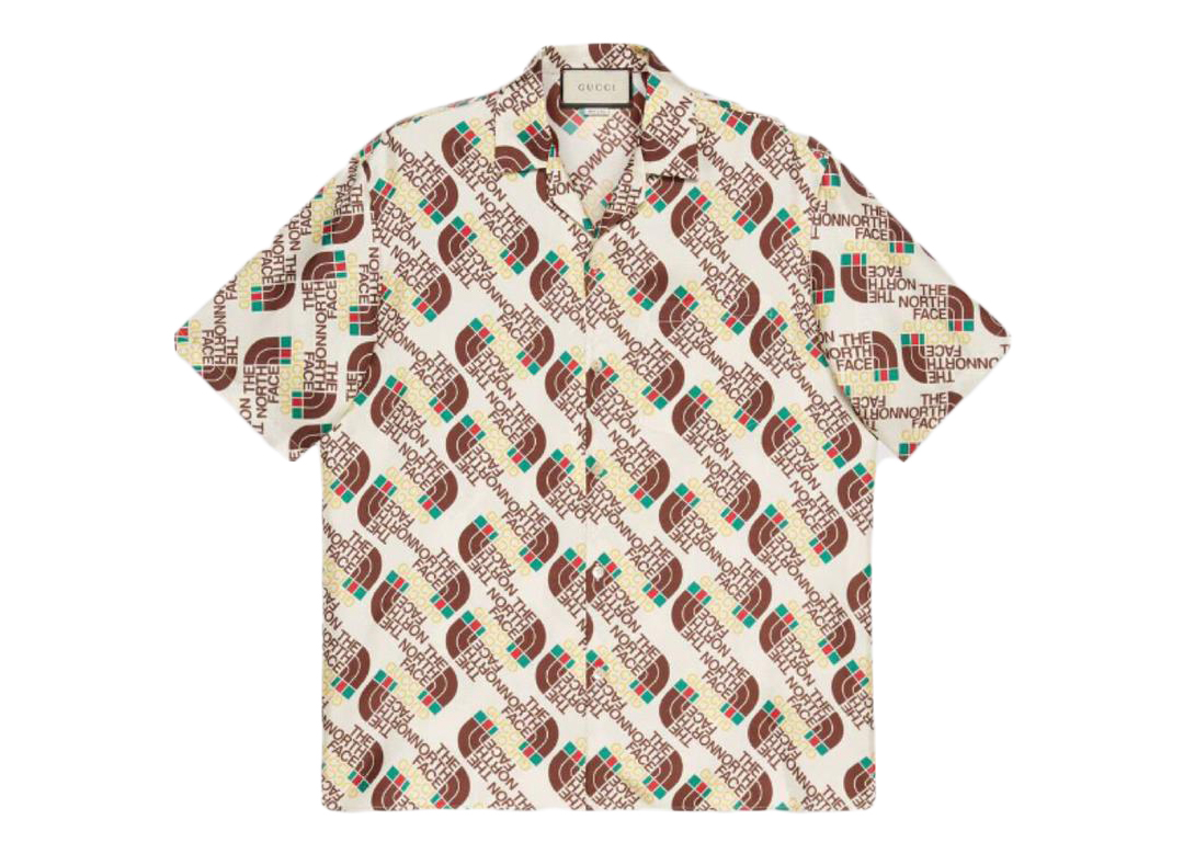 Pre-owned Gucci  X The North Face Web Silk Shirt Brown/beige