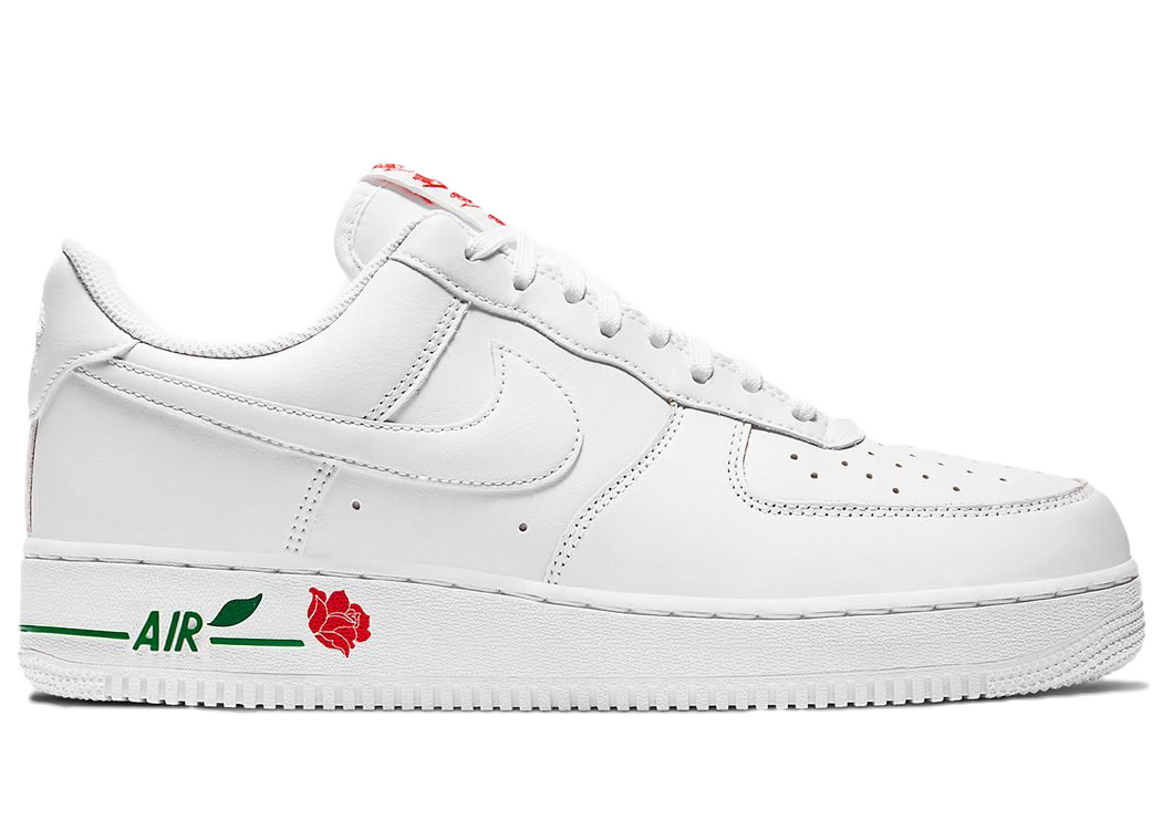 Pre-owned Air Force 1 Low Rose White In White/white/university Red-pine Green