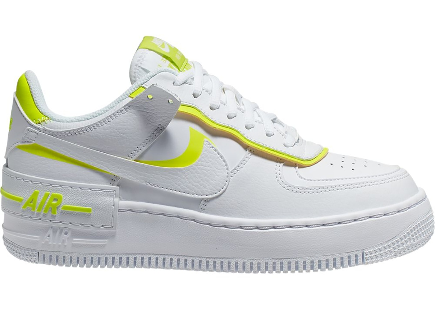 Nike Air Force 1 Shadow White Lemon W Ci0919 104 'lemon venom' coloured branding stands out on the white heel panel, with the iconic logo embroidered to match the colour of the tongue badge that's also finished with the classic. nike air force 1 shadow white lemon w
